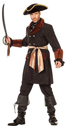 Karneval-Klamotten Piraten Jacke Herren Pirat Kostüm Herren Piraten-Kostüm Herren-Kostüm Piraten-Mantel schwarz Karneval Größe 48