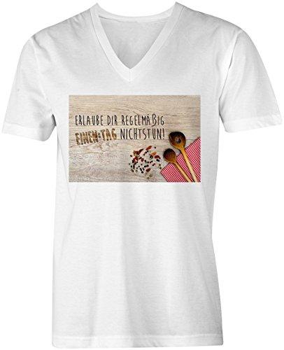 Erlaube Dir Regelmaessig Einen Tag Nichtstun 6 ★ V-Neck T-Shirt Männer-Herren ★ hochwertig bedruckt mit lustigem Spruch ★ Die perfekte Geschenk-Idee (02) weiss