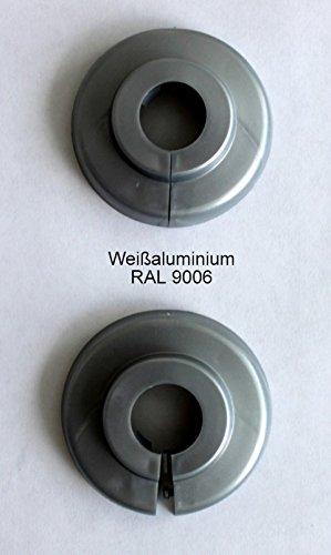 Einzel-Rosetten für Heizungsrohre, Abdeckung für Heizungsrohre, Heizung, 2 Stück, 15mm, 18mm, 22mm Polypropylen in Sonderfarben: Grau-, Braun- & Schwarz-Töne (15mm, RAL 9006)