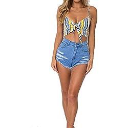 Mujer Camisola Verano Sling Pin-Up Camisas Tirantes Ropa Festiva Chic Chalecos Sin Mangas V-Cuello Floreadas Anudado Tops Camisetas (Color : Amarillo, Size : S)