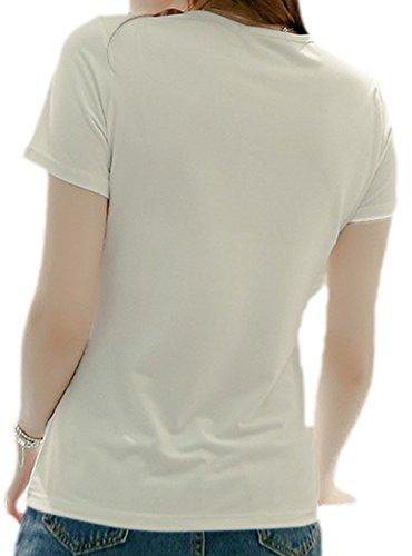 erdbeerloft - Damen Elegantes T-Shirt mit Glitzerapplikationen, 34-42, Viele Farben Weiß