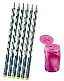 Schmaler Dreikant-Bleistift für Linkshänder - STABILO EASYgraph S - Härtegrad HB - 6er Pack petrol (+ Dosenanspitzer pink)