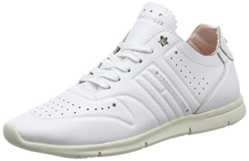 Tommy Hilfiger Damen Leather Light Weight Sneaker, Weiß (White 100), 40 EU