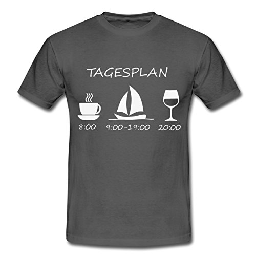Spreadshirt Segeln Tagesplan Kaffee Segelschiff Wein Männer T-Shirt, M, Graphite