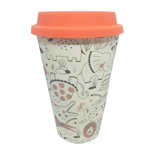 Eco Zoo Animals Bamboo Travel Mug With Orange Silicone Lid & Band Refill Mugs -