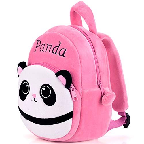 DZert Panda Kids School Bag Soft Plush Backpacks Cartoon Baby Boy/Girl (2-5 Years) (Light Pink)