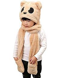 addba45bf8ef Enfant Fille Garçon Chapeau Chapka Thermique 3 en 1 Bonnet Echarpe Moufles  Epais Chaud Foulard Gants Peluche Hiver Motif Panda Mignon…