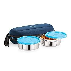 Cello Max Fresh Super Steel Lunch Box Set, 2-Pieces, Blue