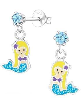 GH1a Kristall mit Glitzer Meerjungfrau Ohrstecker 925 Echt Silber Ohrringe Mädchen Kinder