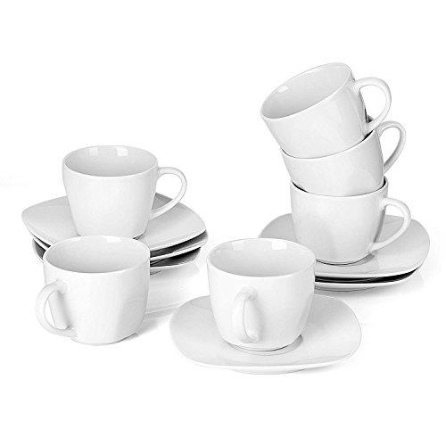 Malacasa, Serie Elisa, 12 teilig Set Cremeweiß Porzellan Kaffeeservice Teeservice, je 6X...