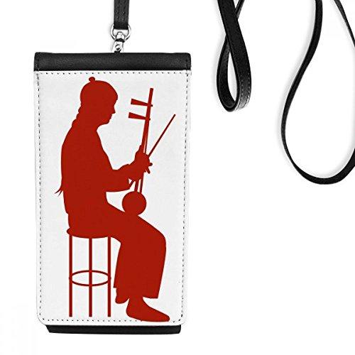 DIYthinker China Erhu-Spieler Kultur Silhouette Illustration Muster-Leder-Smartphone hängende Handtasche Schwarze Phone Wallet Geschenk