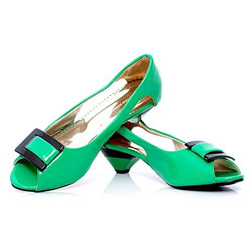 COOLCEPT Damen Mode Slip On Sandalen Peep Toe Niedrig Kitten Heel Schuhe Grun