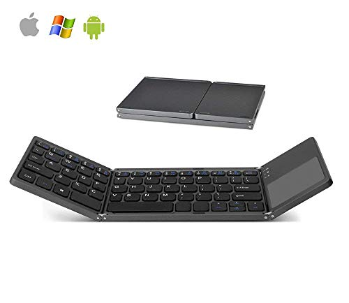 Smartphones Pocket Pc (Arkscan KB31 Foldable Wireless Keyboard & Touchpad Mini Pocket Size for iOS/iPad / iPhone, Android, Windows, PC, Tablet, Smartphone, Apple TV, PS4 & Other Devices w/Bluetooth, Rechargeable Portable)