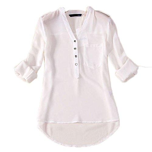 Malloom® Frauen V-Ausschnitt Chiffon Langarm Casual Hemd Bluse (Man Kann mehre Danmen Kleid Rock Hose Mantel Schal Sock Handschuhe Schuhe Unterwäsche Bei Kaufen) (Falten-shorts Male Casual)