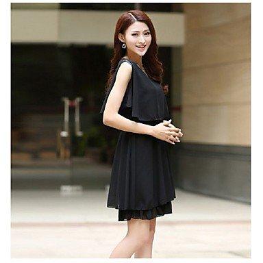 PU&PU Robe Aux femmes Gaine simple,Couleur Pleine Col en U Au dessus du genou Coton / Polyester BLACK-M