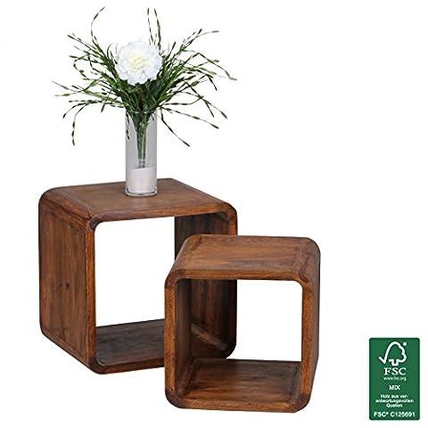 Wohnling Lot de 2Jeu de table bois de Sheesham massif Table de salon style maison de campagne Cubes étagère de cube table d'appoint en bois naturel de table moderne de cube marron foncé Produit naturel en bois de table basse unique