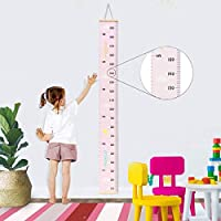 Baby Growth Chart Wood Frame Canvas Wall Hanging Decoration Kids Flexible Height Measurement Ruler 7.9x79 Inch