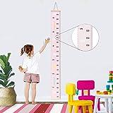 Tabella di crescita del bambino Cornice in legno Tela appesa a muro Decorazione Bambini Altezza flessibile Misura righello 7.9x79 pollici (rosa)