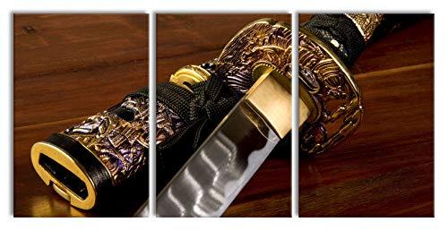 Pixxprint strahlendes Samurai-Schwert, XXL Leinwandbild in Übergröße 240x120cm Gesamtmaß 3 - Einfach Mythologie Kostüm