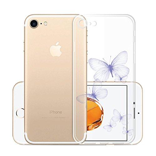 Per iPhone8(2017) Custodia ,Per iPhone7(2016) Custodia ,ZXLZKQ Rosa Gatto Ragazza Trasparente Morbido TPU Silicone Coperchio Skin Cover Bumper Protezione Case iPhone8(2017) / iPhone7(2016) WM106
