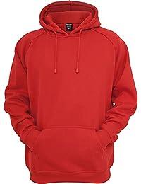 Urban Classics Blank Hoody | Herren Kapuzenpullover in red in Größe: 4XL + original Bandana gratis