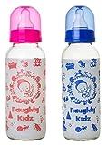 Naughty Kidz Glass Feeding Bottle with 4 LSR Nipple -BLUE + Pink 240
