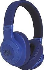 JBL E55BT Over-Ear Surround Bluetooth Kopfhörer Faltbar Inkl. Abnehmbares Verwicklungsfreies Textilkabel mit Universeller 1-Tasten-Fernbedienung mit Integriertem Mikrofon - Blau