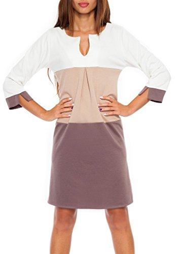 Glamour Empire. Damen Etuikleid mit horizontalen Streifen und Taschen. 303 (Beige & Cappuccino, 44/ XXL) (Kleider Casual Schön)