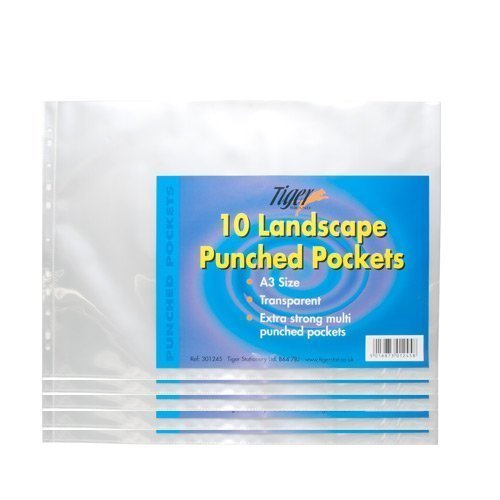 tiger-a3-landscape-strong-plastic-poly-pockets-wallet-sleeves-clear-finish-pack-of-50