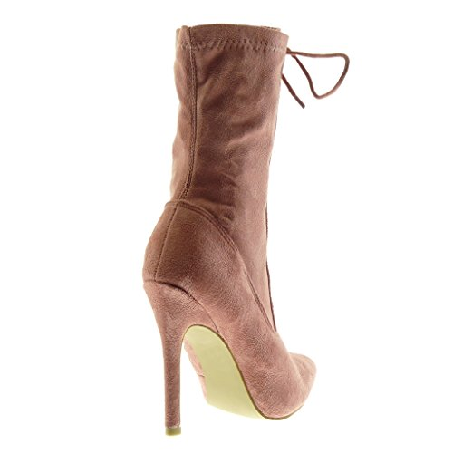 Angkorly Damen Schuhe Stiefeletten - Stiletto - Sexy - Multi-Zaum Stiletto High Heel 11.5 cm Rosa