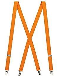Pair Narrow Fashion Braces [suspenders] in Orange 2cm wide ,Adjustable with metal adjusters and snap fasteners .