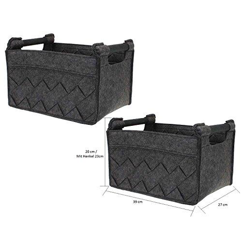 Hochwertiges 2er Filz-Korb Set 2 Filzkörbe recht-eckig Dunkelgrau / anthrazit mit Holzgriff von MACOSA HOME, Regalkorb stabil und robust. Allzweckkorb Filz, Aufbewahrung, Filz-Box (S ( 27x39 cm))