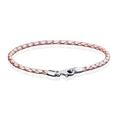 MATERIA 925 Silber Beads Armband Herren Damen - Leder Armband Karabiner champagner 18-22cm #A55, Länge:21 cm - Armband Bead Herren