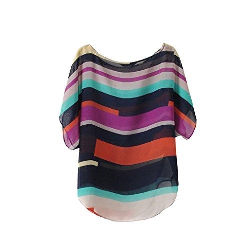 Rcool Frauen Sommer gedruckt Perspektive Casual Loose Chiffon Tops Blusen T-Shirt (XL, Multicolor)