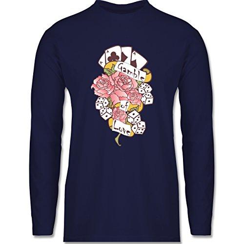 Shirtracer Rockabilly - Gamble of Love - Herren Langarmshirt Navy Blau