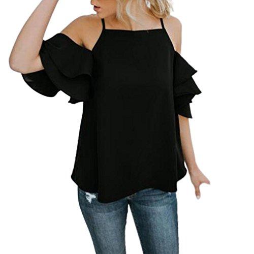 ESAILQ Damen T-Shirt Damen Sommer Bauchfrei Trägerlos V-Ausschnitt Stickerei Crop Tops Oberteile Bluse(XL,Schwarz)