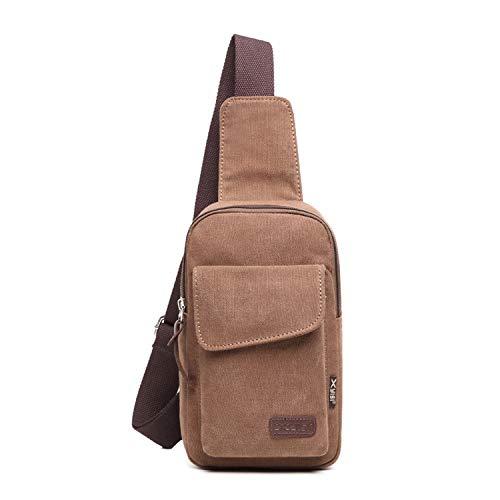 FANDARE Brusttasche Herren Schultertasche Sling Bag Rucksack 7.9 inch iPad Sling Bag Segeltuch Tasche Umhängetasche Sporttasche für Wandern,Abenteuer,Sport, Reisen und Joggen Braun