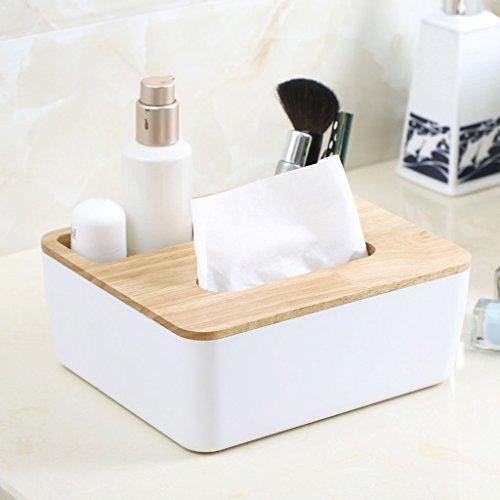 Tücherboxen ZQG Multifunktions Holz Farbe Platz Tissue Box Kreative Desktop Fernbedienung Aufbewahrungsbox Auto Lebensmittel Handtuch Saug Aufbewahrungsbox