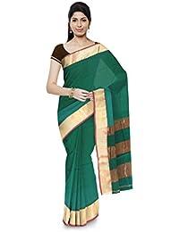 Aadi Handloom Maheshwar Maheshwari Handloom Cotton & Silk Saree (Green)
