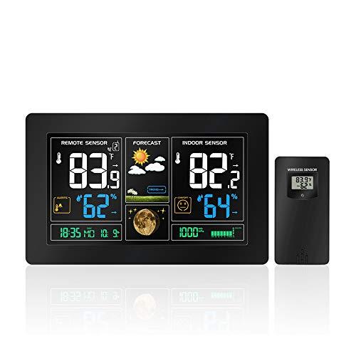 CWWHY Drahtlose Wetterstation Mit Drahtlosem Innen- / Außensensor, Wetterstation Uhr Für Die Vorhersage/Temperatur Mit Alarmen/Luftfeuchtigkeit,EUPlug -