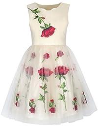 Mädchen Kleid Weiß Rose Blume Stickerei Herz Gestalten Zurück Hochzeit Gr. 116-158