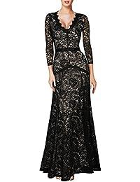 MIUSOL Elegante Dame 3/4 Ärmel mit Spitzen V-Ausschnitt Maxi Heimkehrkleid Brautkleid Festkleid Cocktail Abendkleid