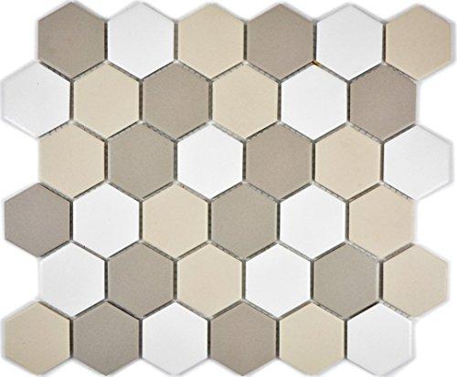 Mosaik Fliese Keramik Hexagon weiß hellbeige hellgrau unglasiert für BODEN WAND BAD WC DUSCHE KÜCHE FLIESENSPIEGEL THEKENVERKLEIDUNG BADEWANNENVERKLEIDUNG Mosaikmatte Mosaikplatte