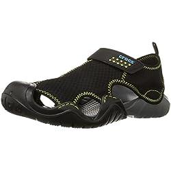 Crocs Swiftwater Sandal Men, Zapatos de Agua para Hombre, (Negro/Charcoal), 42/43 EU