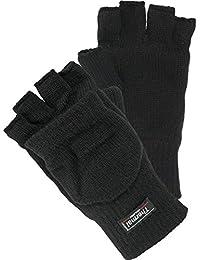 Halbfinger Handschuh mit Klappe warm gefüttert