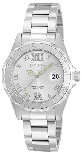 Invicta 12851 Pro Diver Women's Wrist Watch Stainless Steel Quartz Silver Dial