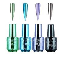 Nail Polish 4 Color 8ML Long Lasting Quick Drying Plating Metallic Nail Polish Set Magic Semi-Mirror Effect Nail Lacquer Finger Beauty Nail Varnish More Durable (C)