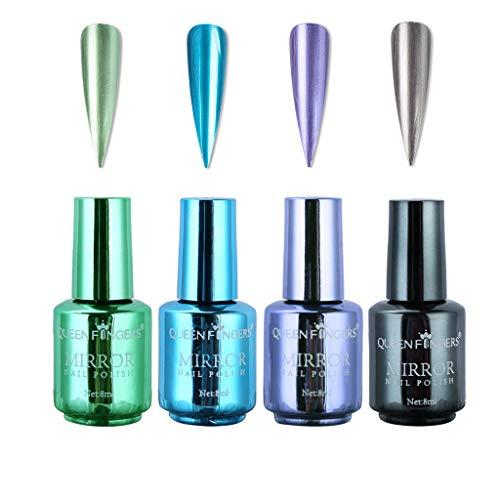 4 botellas esmalte uñas metálico efecto espejo barniz