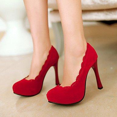 Moda Donna Sandali Sexy donna tacchi Primavera / Estate / Autunno piattaforma nozze di vello / Party & sera abito / Stiletto Heel Slip-on / Fiore nero / marrone / rosso Red