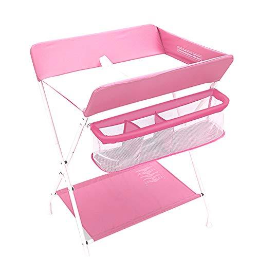 Table à Langer Pliable pour Bébé avec Rangement Unité De Commode Portable pour Organisateur Style Croisé (Couleur : Pink)